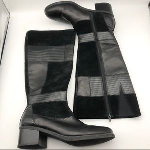 Clarks Black Panel Heeled Boots, size 9